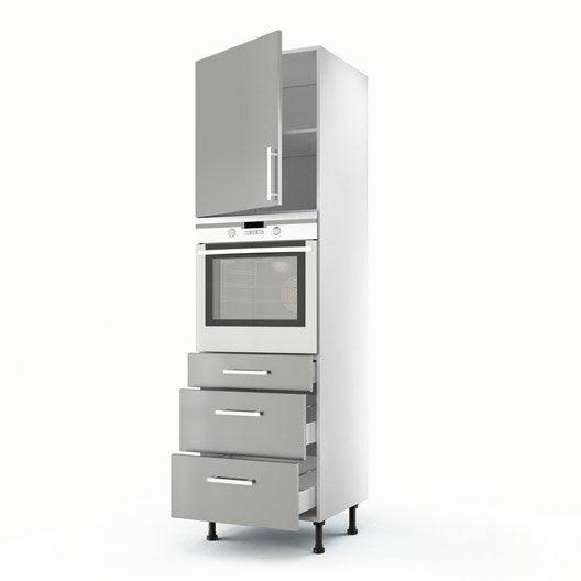 Meuble de cuisine colonne gris 1 porte 3 tiroirs d lice for Cuisine financement 0