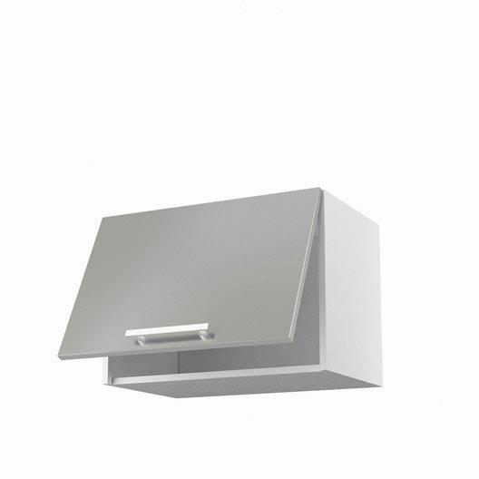 Meuble de cuisine haut sur hotte gris 1 porte d lice for Meuble haut profondeur 60