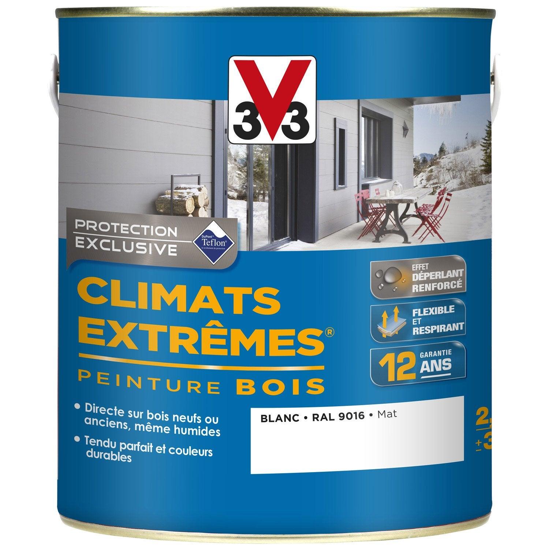 génial Peinture bois extérieur Climats extrêmes V33, blanc, 2.5 l