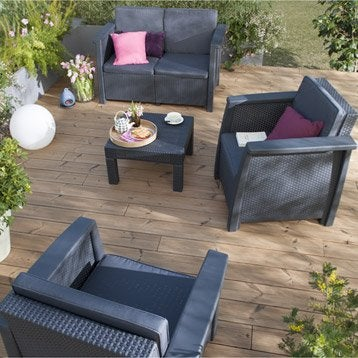 Salon bas de jardin canap et fauteuil bas salon de - Salon de jardin en resine lauren keter ...