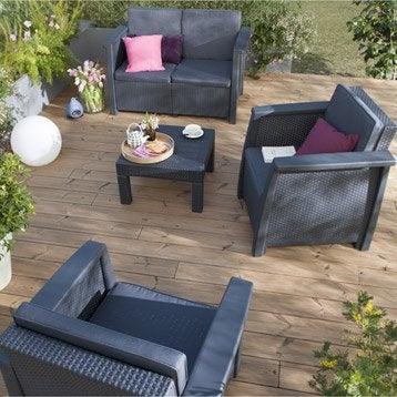 Salon bas de jardin canap et fauteuil bas salon de - Salon de jardin en resine corfu keter gris anthracite ...