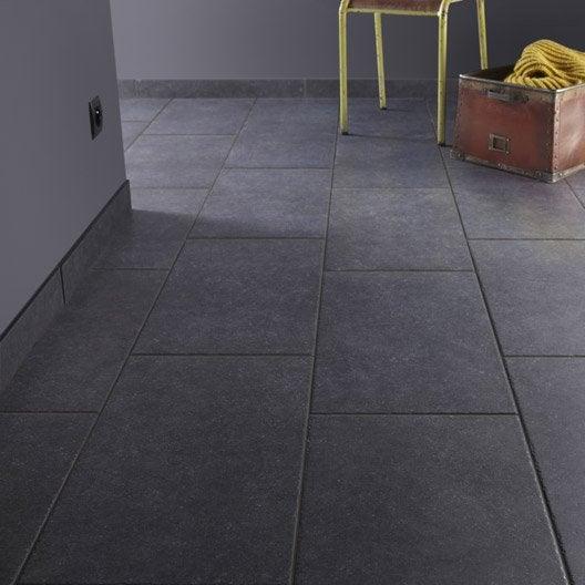 Carrelage sol et mur noir effet pierre bruges x for Carrelage noir brillant leroy merlin