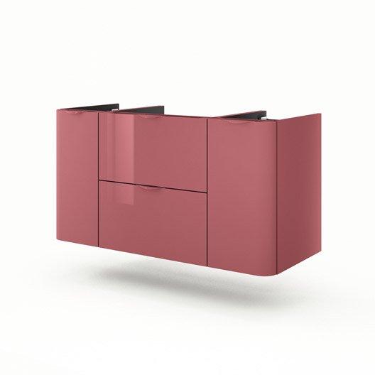 Meuble de salle de bains plus de 120 rouge neo shine for Meuble sous vasque 100 cm