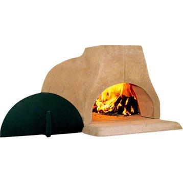 Four à pizza, au feu de bois, gris rosé Lou mitron, l.83 x L.105 x H.52 cm
