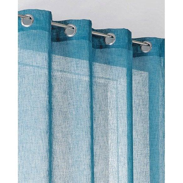 voilage tamisant linum bleu baltique x cm leroy merlin. Black Bedroom Furniture Sets. Home Design Ideas
