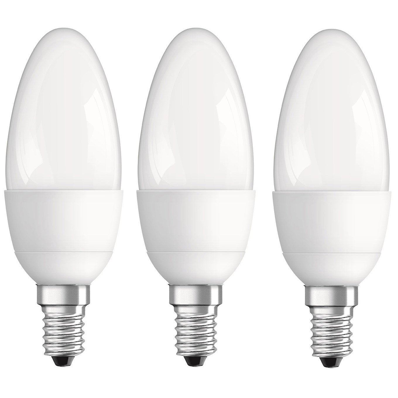 ampoule led e14 flamme 5 7w 470lm quiv 40w 4000k osram lot de 3 leroy merlin. Black Bedroom Furniture Sets. Home Design Ideas