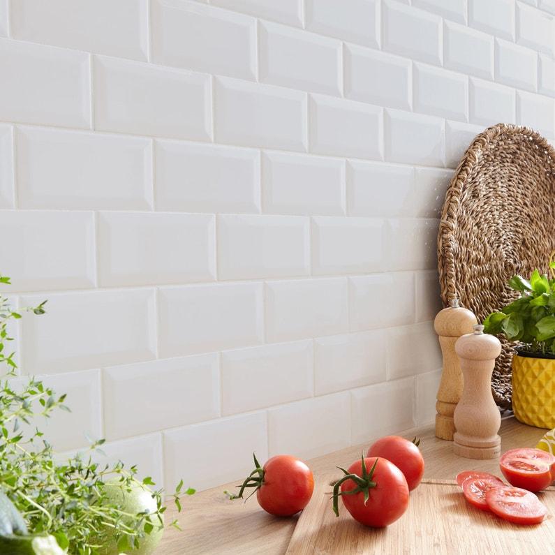 Faïence mur uni blanc mat l.10 x L.20 cm, Metro   Leroy Merlin
