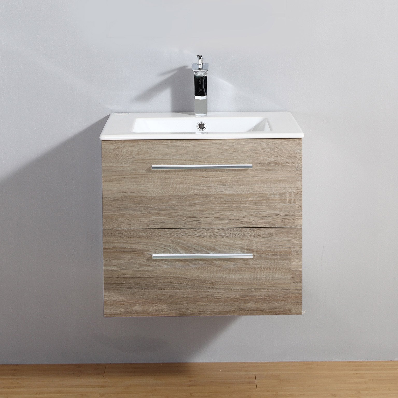 Meuble salle de bains 2 pièces, Kiss l.60 x H.54 x P.50 cm, bois clair, Kiss