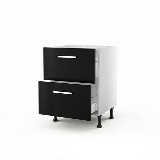 meuble de cuisine bas noir 2 tiroirs d lice x x cm leroy merlin
