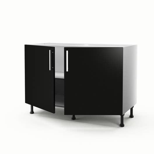 meuble de cuisine sous vier noir 2 portes d lice x l. Black Bedroom Furniture Sets. Home Design Ideas