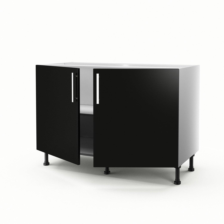 Meuble de cuisine sous-évier noir 2 portes Délice H.70 x l.120 x P ...