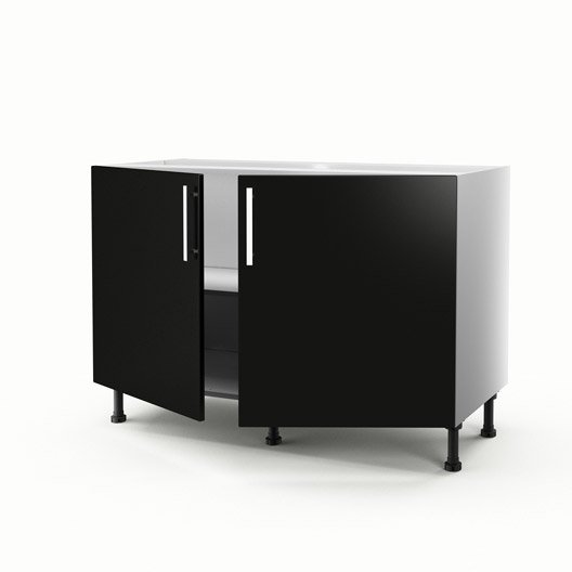 meuble de cuisine sous vier noir 2 portes d lice x l. Black Bedroom Furniture Sets. Home Design Ideas