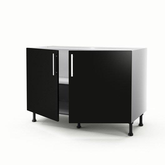 Meuble de cuisine sous vier noir 2 portes d lice x l for Meuble de cuisine 120 cm
