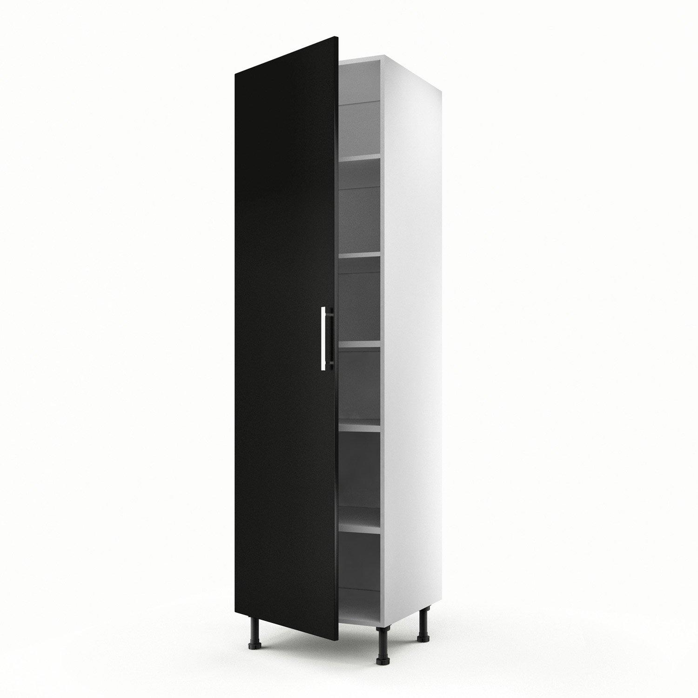 meuble de cuisine colonne noir 1 porte dlice h200 x l60 x p56 cm