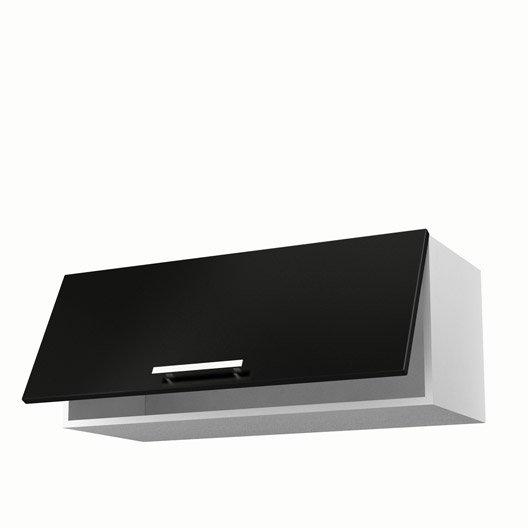 meuble de cuisine haut noir 1 porte d233lice h35 x l90 x p