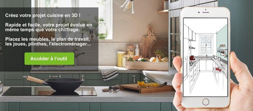 Meuble de cuisine delinia modulable moderne bois - Ilot central cuisine leroy merlin ...