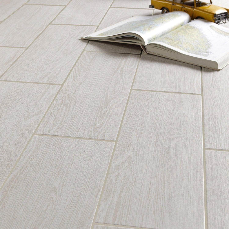 Carrelage sol et mur forte effet bois blanc Avoriaz l.20 x L.60.4 cm ARTENS