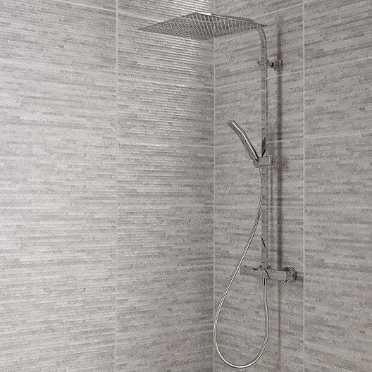 Carrelage mur gris wallstone x cm leroy merlin - Carrelage imitation pierre blanche ...