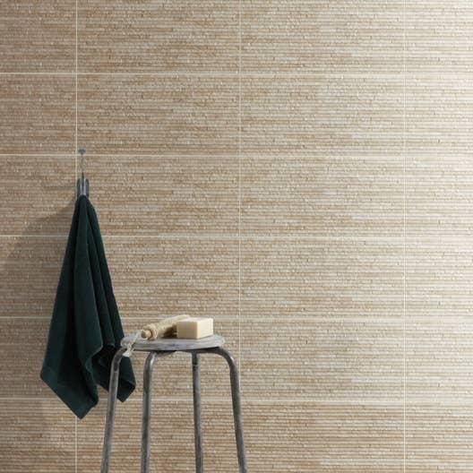 Carrelage mur beige, Wallstone l.30 x L.60.4 cm | Leroy Merlin