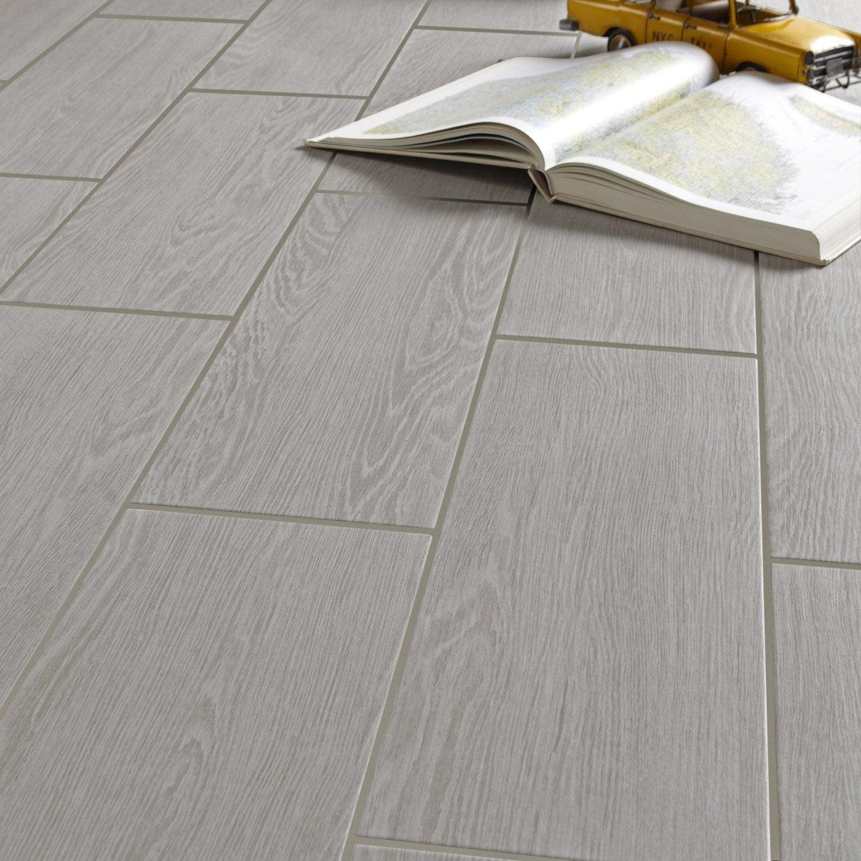 Carrelage sol et mur forte bois gris clair Avoriaz l.20 x L.60.4 cm ...