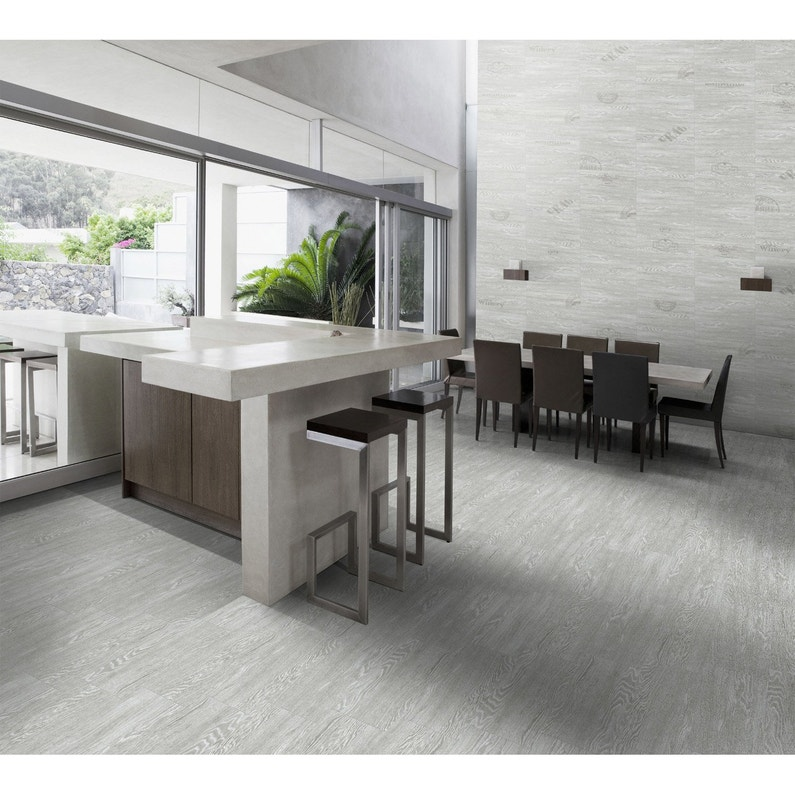 Carrelage sol et mur gris clair effet bois Avoriaz l.20 x L.60.4 cm | Leroy Merlin