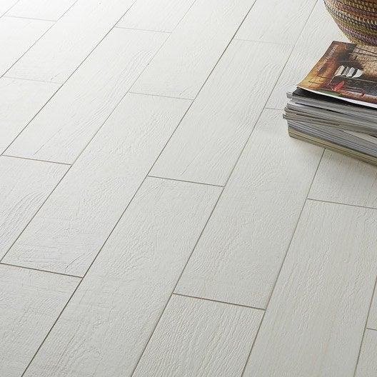 Carrelage sol et mur blanc effet bois eternity x for Carrelage ou parquet
