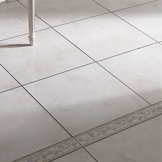 Carrelage sol et mur beige effet marbre charme x - Frise carrelage sol ...