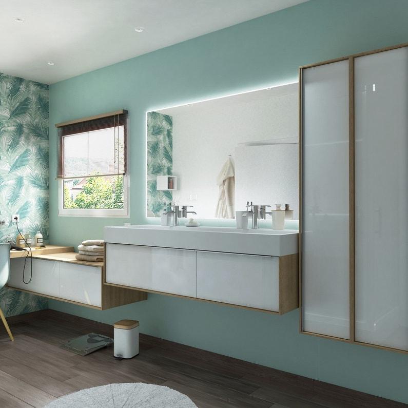 Salle de bains blanche et bois leroy merlin - Salle de bain blanche et bois ...