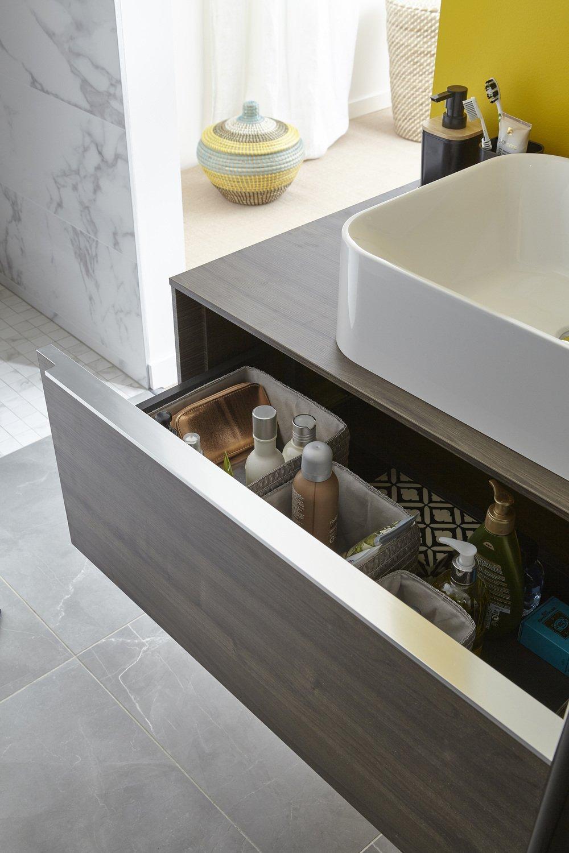 Rangement pour les accessoires de la salle de bains leroy merlin - Accessoires pour salle de bain ...