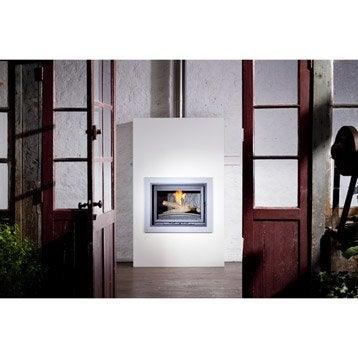 Trou à feu façade en métal, EQUATION, Option parure décorative gris