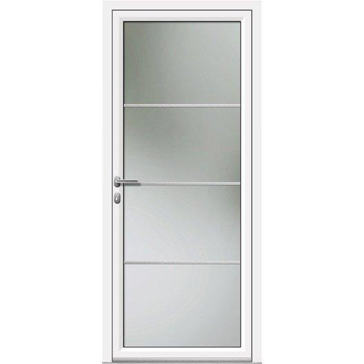 Porte d 39 entr e aluminium laly artens poussant droit h215 x - Porte interieur vitree leroy merlin ...