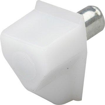 Lot de 20 taquets à enfoncer, plastique blanc, Diam.5 mm