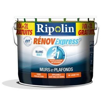 Peinture murs et plafonds RIPOLIN, 10L + 20% gratuit