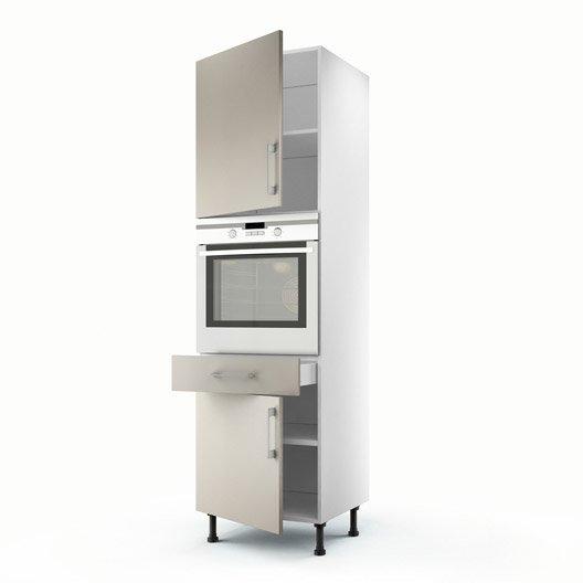 Meuble de cuisine colonne gris 2 portes 1 tiroir topaze for Colonne cuisine tiroir