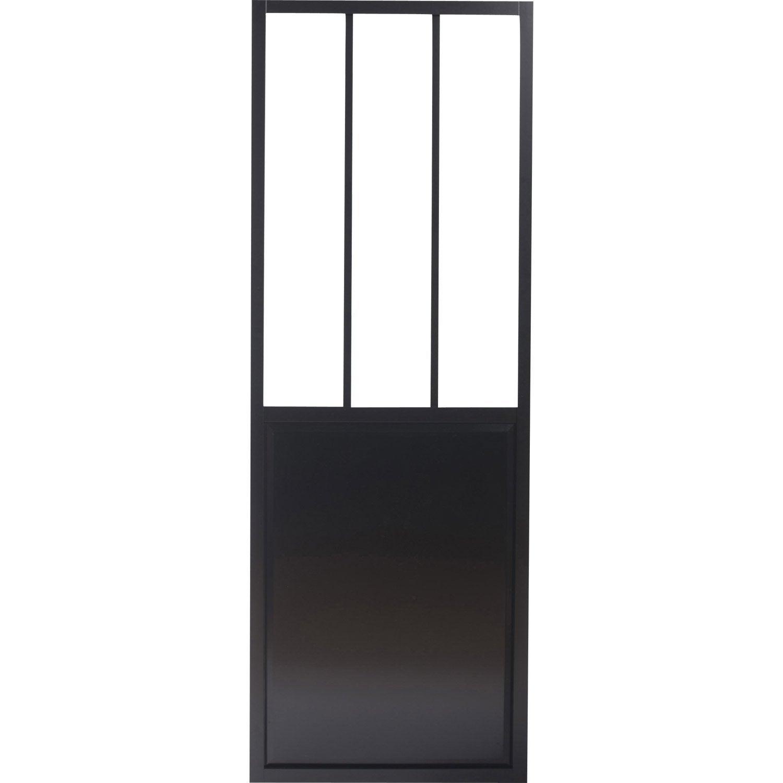 Porte coulissante alu noir foncé, verre trempé givré Atelier ARTENS, 204 x  83 cm cc3911ced3c