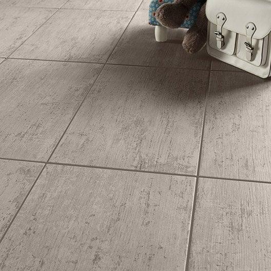 Carrelage sol et mur gris effet bois cuba x cm for Carrelage gris leroy merlin