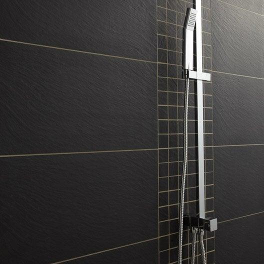 carrelage sol et mur noir, vesuvio l.30 x l.60 cm | leroy merlin