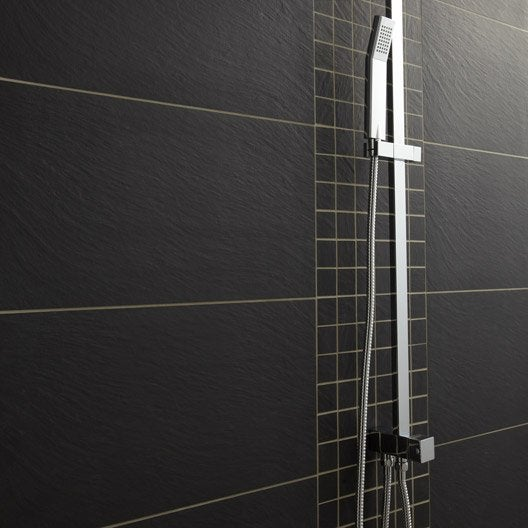 Carrelage sol et mur noir vesuvio x cm leroy - Carrelage metro noir leroy merlin ...