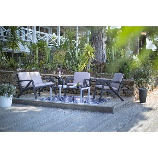 Salon bas de jardin sunday r sine plastique table - Repeindre salon de jardin en plastique ...