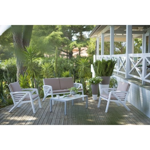 salon bas de jardin sunday r sine plastique table canap 2 fauteuils leroy merlin. Black Bedroom Furniture Sets. Home Design Ideas