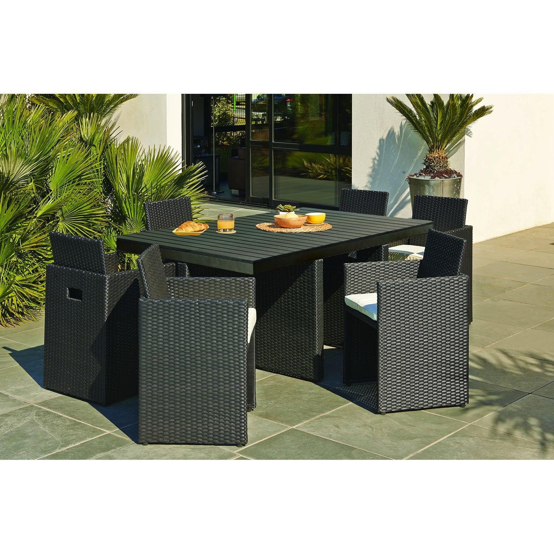 salon-de-jardin-encastrable-resine-tressee-noir-1-table-6-fauteuils Luxe De Table Et Chaise Jardin Schème