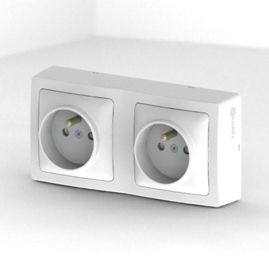 double prise avec terre saillie opus lexman blanc leroy merlin. Black Bedroom Furniture Sets. Home Design Ideas