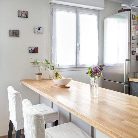 Aménager un bar en chêne dans votre cuisine commez chez Jérôme à Noisy le Grand