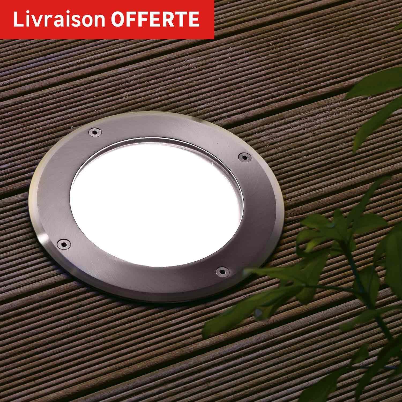 Spot enterrer ext rieur boston diam 18 cm aluminium inspire leroy merlin for Spot decoratif exterieur