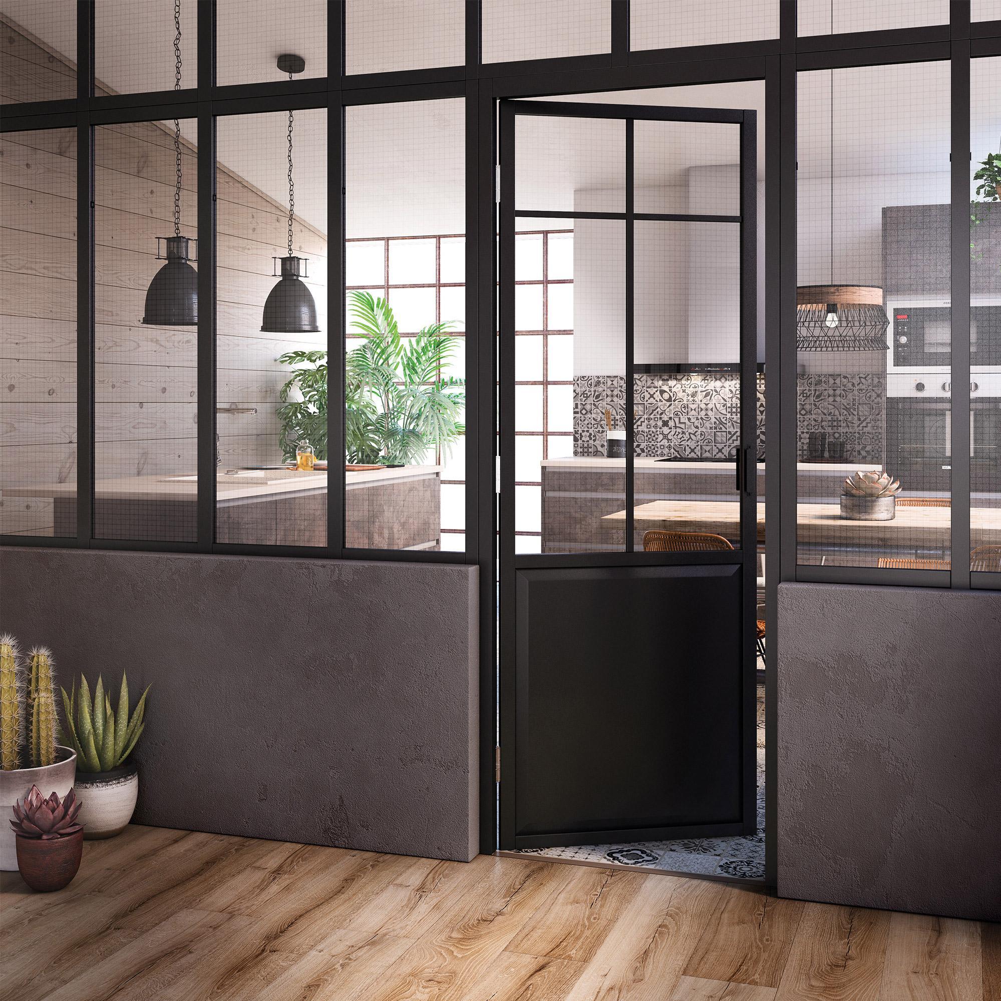 Bloc porte avec bâti ajustable Work noir ARTENS H204 x l83 ...