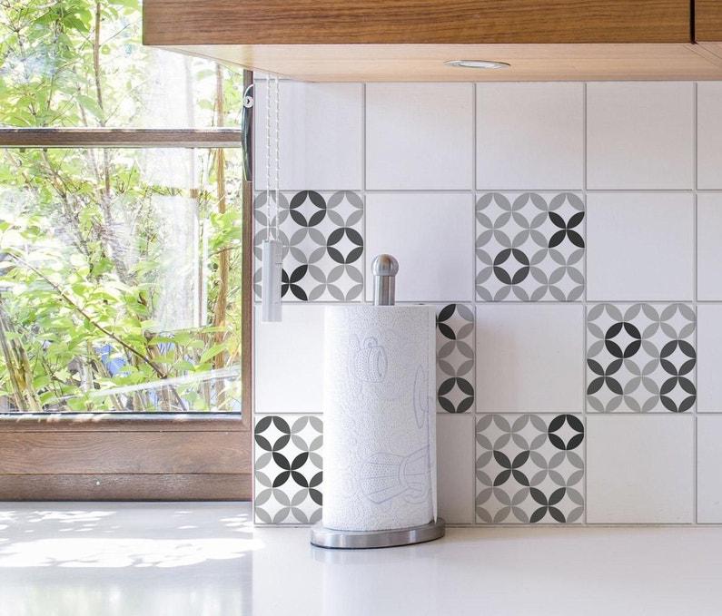 Stickers Adhésifs Carrelage Mural Céramique Noir Blanc 15 Cm X 15 Cm