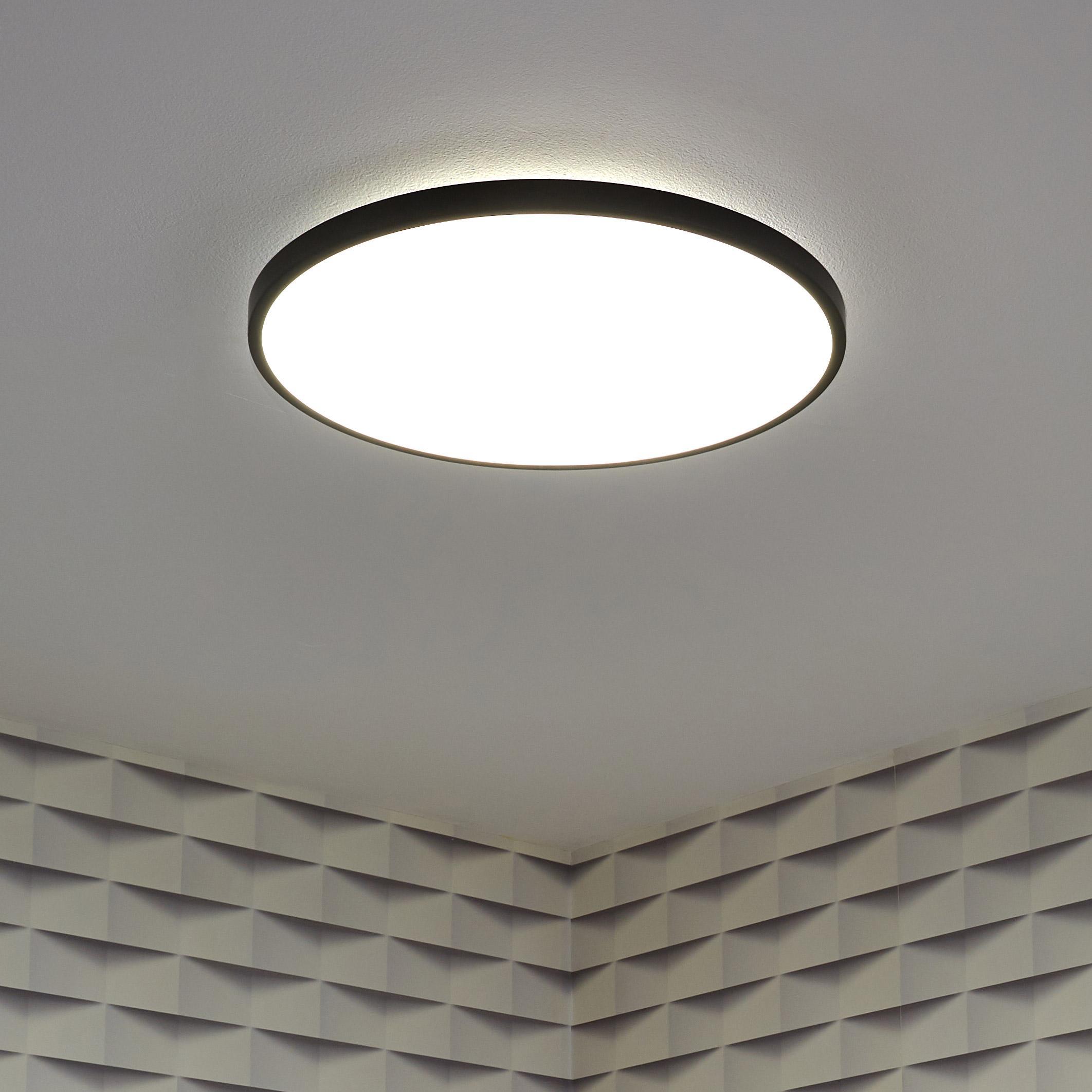Panneau LED diam 40 cm, 22 W, éclairage indirect, blanc chaud à froid, noir