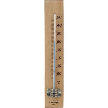 Thermomètre bois clair intérieur ou extérieur INOVALLEY