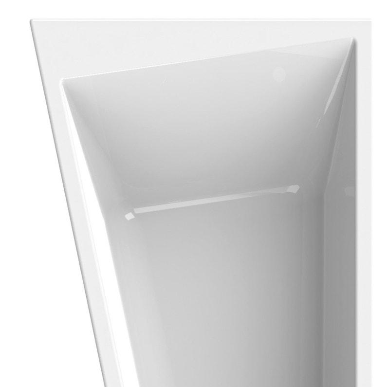 Baignoire Asymétrique Gauche L170x L90 Cm Blanc Sensea Premium
