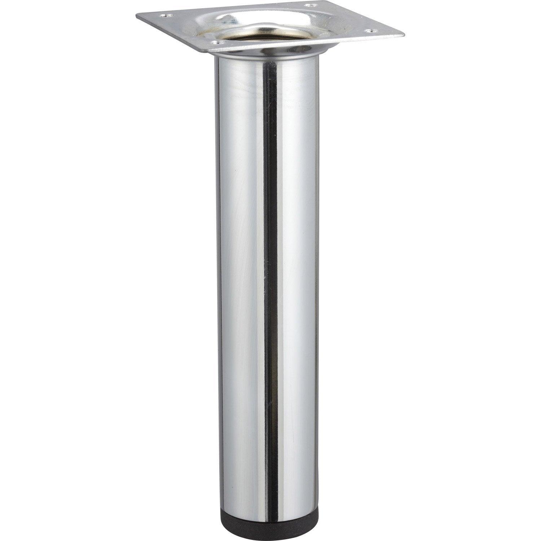 pied de meuble cylindrique fixe acier chrom gris 15 cm leroy merlin. Black Bedroom Furniture Sets. Home Design Ideas